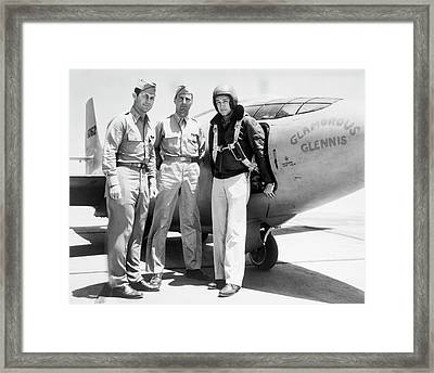 Test Pilots And Bell X-1 Framed Print by Underwood Archives