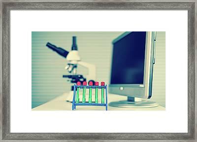 Test Tubes And Computer Framed Print by Wladimir Bulgar
