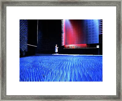 Testing Facility For Satellite Communication Framed Print by Rosenfeld Images Ltd/science Photo Library