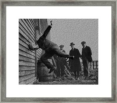 Testing Football Helmets In 1912 Ouchhhhh Framed Print