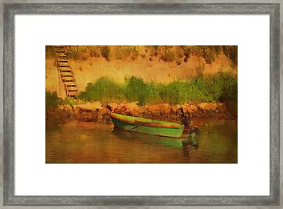 Tethered Boat By Riverbank Framed Print by Carla Parris