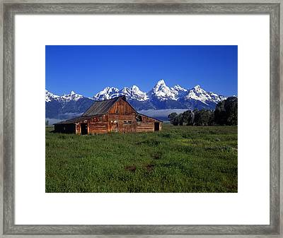 Teton Barn Spring Framed Print by Mike Norton