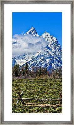 Teton Cathedral Center Panel Framed Print by Greg Norrell