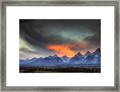 Teton Explosion Framed Print by Mark Kiver