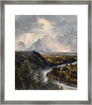 Framed Print featuring the painting Teton Illumination by Steve Spencer