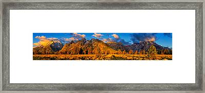 Framed Print featuring the photograph Teton Mountain View Panorama by Greg Norrell