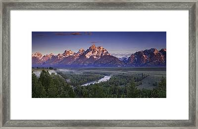 Teton Panorama Framed Print by Andrew Soundarajan