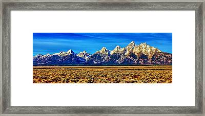 Framed Print featuring the photograph Teton Panorama by Benjamin Yeager