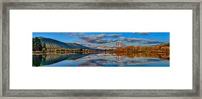 Teton Panoramic Reflections At Oxbow Bend Framed Print