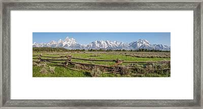 Teton Range Panorama Framed Print by Aaron Spong