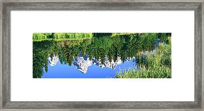 Teton Range Reflected In Moose Ponds Framed Print by Panoramic Images