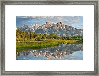 Framed Print featuring the photograph Teton Range Reflected In The Snake River by Jeff Goulden