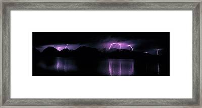 Teton Range Wlightning Grand Teton Framed Print by Panoramic Images