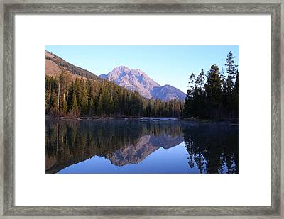 Teton Reflecions Framed Print by Jerry Cahill