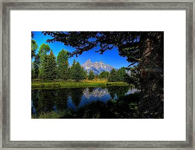 Framed Print featuring the photograph Teton Reflection by Yeates Photography
