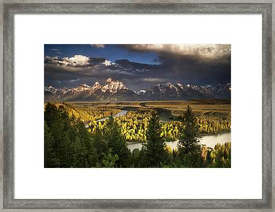 Teton Shadow Play Framed Print by Andrew Soundarajan