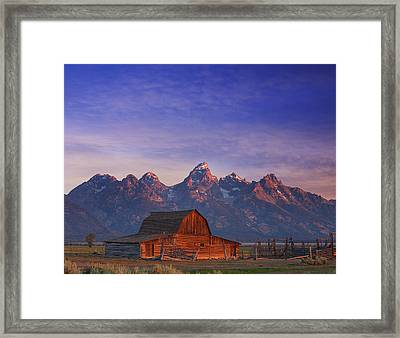 Teton Sunrise Framed Print by Darren  White