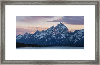 Teton Sunset On Jackson Lake Framed Print by Aaron Spong