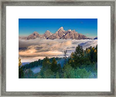 Tetons Above The Clouds Framed Print by Jerry Patterson