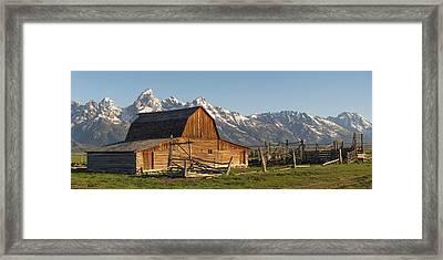 Tetons And Old Barn - Mormon Row Framed Print