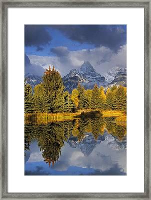 Tetons And Pond Framed Print