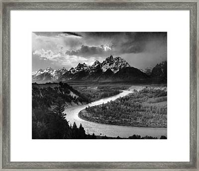 Tetons And The Snake River Framed Print