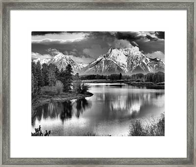 Tetons In Black And White Framed Print