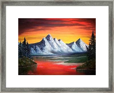 Framed Print featuring the painting Tetons Sunset by The GYPSY And DEBBIE