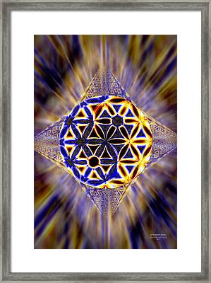 Framed Print featuring the drawing Tetra Balance Crystal by Derek Gedney