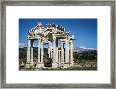 Tetrapylon In Aphrodisias Framed Print by Suzanne Morris