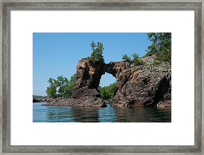 Framed Print featuring the photograph Tettegouche Arch By Kayak by Sandra Updyke