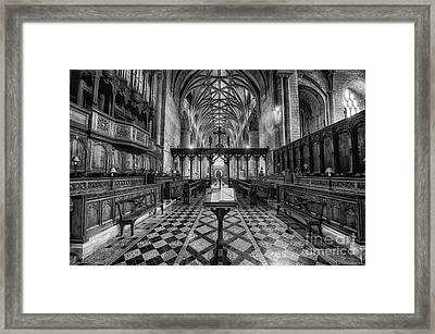 Tewkesbury Abbey Bw Framed Print