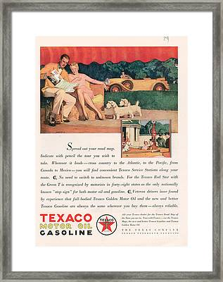 Texaco 1929 1920s Usa Cc Oil Gas Petrol Framed Print by The Advertising Archives