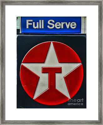 Texaco Gas Sign Full Serve Framed Print by Paul Ward