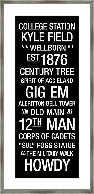 Texas A And M College Town Wall Art Framed Print