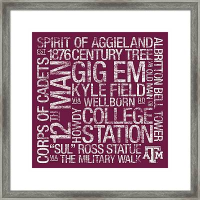 Texas Am College Colors Subway Art Framed Print