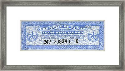 Texas Beer Tax Stamp Framed Print