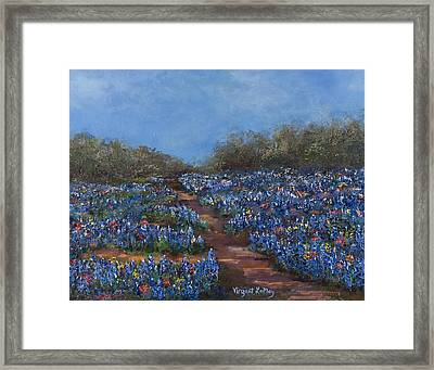 Texas Blue Bonnets Hill Country Trail Framed Print by Nancy LaMay