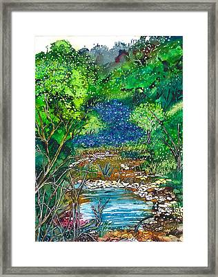 Texas Bluebonnets And Sparkling Stream Framed Print by M E Wood