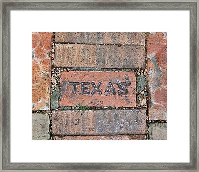 Texas Brick Walkway Framed Print by Kathy Peltomaa Lewis