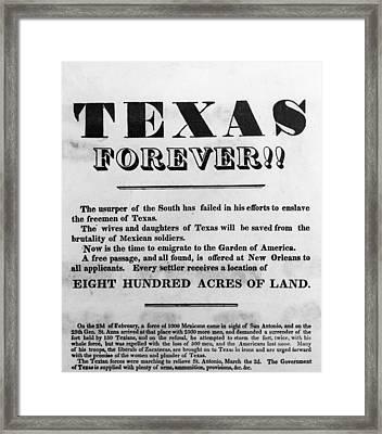 Texas Broadside, 1836 Framed Print