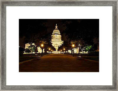 Framed Print featuring the photograph Texas Capitol At Night by Dave Files