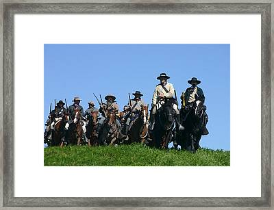 Texas Cavalry Regiment Descending - Perryville Ky Framed Print by Thia Stover
