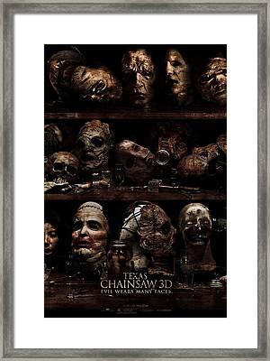 Texas Chainsaw 3d Faces Framed Print