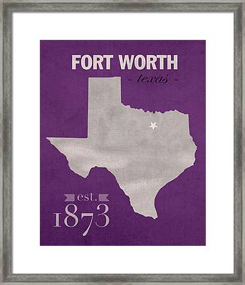 Texas Christian University Tcu Horned Frogs Fort Worth College Town State Map Poster Series No 107 Framed Print by Design Turnpike