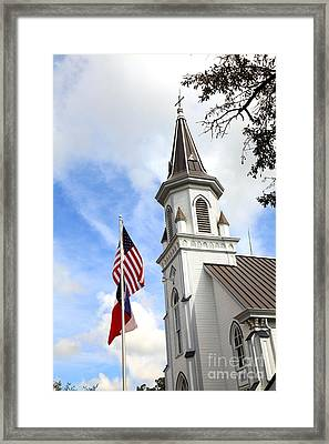 Texas Church And Flags Framed Print by Pattie Calfy