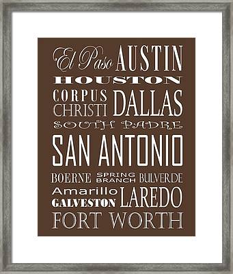 Texas Cities On Brown Framed Print by Debbie Karnes