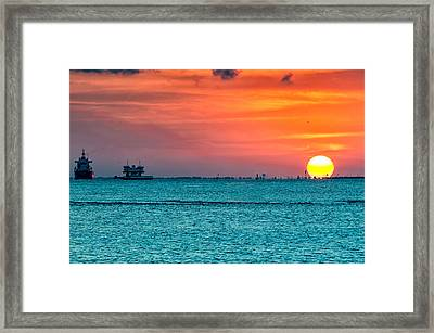Sunset On The Houston Ship Channel Framed Print