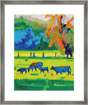 Texas Cows At Sunset Oil Painting Bertram Poole Apr14 Framed Print by Thomas Bertram POOLE