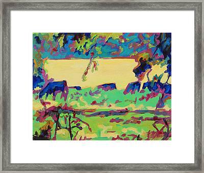 Texas Cows Grazing Landscape By Bertram Poole Framed Print by Thomas Bertram POOLE